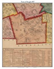 Douglas, Massachusetts 1857 Old Town Map Custom Print - Worcester Co.