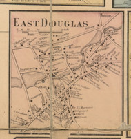 East Douglas, Massachusetts 1857 Old Town Map Custom Print - Worcester Co.