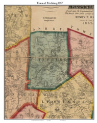 Fitchburg, Massachusetts 1857 Old Town Map Custom Print - Worcester Co.