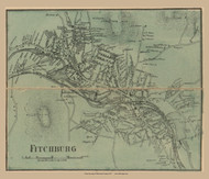 Fitchburg Village, Massachusetts 1857 Old Town Map Custom Print - Worcester Co.