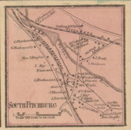 South Fitchburg Village, Massachusetts 1857 Old Town Map Custom Print - Worcester Co.