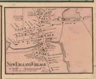 New England Village, Massachusetts 1857 Old Town Map Custom Print - Worcester Co.