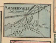 Saundersville, Massachusetts 1857 Old Town Map Custom Print - Worcester Co.