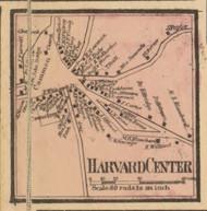 Harvard Center, Massachusetts 1857 Old Town Map Custom Print - Worcester Co.
