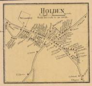 Holden Village, Massachusetts 1857 Old Town Map Custom Print - Worcester Co.