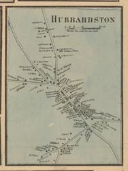 Hubbardston Village, Massachusetts 1857 Old Town Map Custom Print - Worcester Co.