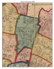 Lancaster, Massachusetts 1857 Old Town Map Custom Print - Worcester Co.