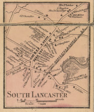South Lancaster, Massachusetts 1857 Old Town Map Custom Print - Worcester Co.