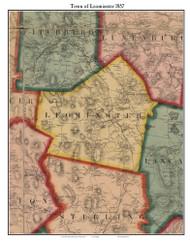 Leominster , Massachusetts 1857 Old Town Map Custom Print - Worcester Co.