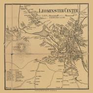 Leominster Center, Massachusetts 1857 Old Town Map Custom Print - Worcester Co.