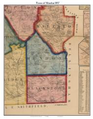 Mendon, Massachusetts 1857 Old Town Map Custom Print - Worcester Co.
