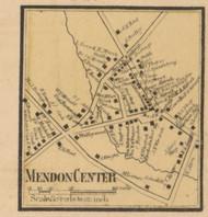 Mendon Center, Massachusetts 1857 Old Town Map Custom Print - Worcester Co.