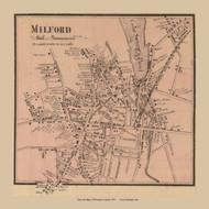 Milford Center, Massachusetts 1857 Old Town Map Custom Print - Worcester Co.
