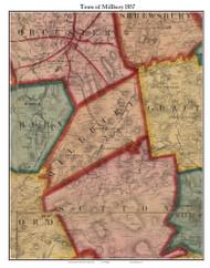 Millbury, Massachusetts 1857 Old Town Map Custom Print - Worcester Co.