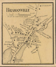 Bramanville Village, Massachusetts 1857 Old Town Map Custom Print - Worcester Co.