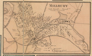 Millbury Village, Massachusetts 1857 Old Town Map Custom Print - Worcester Co.