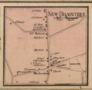 New Braintree Village, Massachusetts 1857 Old Town Map Custom Print - Worcester Co.