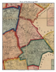Northborough, Massachusetts 1857 Old Town Map Custom Print - Worcester Co.