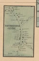 Northbridge Center, Massachusetts 1857 Old Town Map Custom Print - Worcester Co.