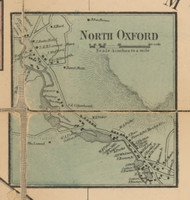 North Oxford, Massachusetts 1857 Old Town Map Custom Print - Worcester Co.