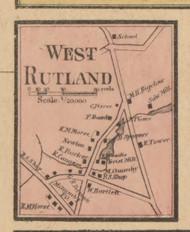 West Rutland, Massachusetts 1857 Old Town Map Custom Print - Worcester Co.