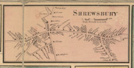 Shrewsbury Village, Massachusetts 1857 Old Town Map Custom Print - Worcester Co.