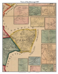 Southborough, Massachusetts 1857 Old Town Map Custom Print - Worcester Co.