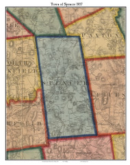 Spencer, Massachusetts 1857 Old Town Map Custom Print - Worcester Co.