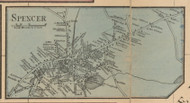 Spencer Village, Massachusetts 1857 Old Town Map Custom Print - Worcester Co.