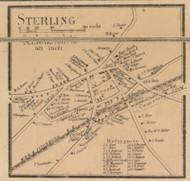 Sterling Village, Massachusetts 1857 Old Town Map Custom Print - Worcester Co.