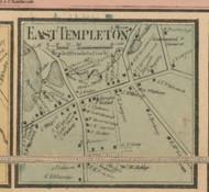 East Templeton Village, Massachusetts 1857 Old Town Map Custom Print - Worcester Co.