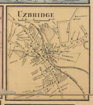 Uxbridge Village, Massachusetts 1857 Old Town Map Custom Print - Worcester Co.