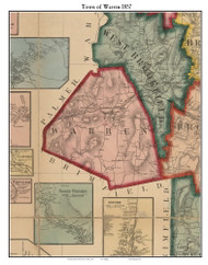 Warren, Massachusetts 1857 Old Town Map Custom Print - Worcester Co.