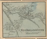 West Boylston Center, Massachusetts 1857 Old Town Map Custom Print - Worcester Co.