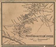 West Brookfield Center, Massachusetts 1857 Old Town Map Custom Print - Worcester Co.