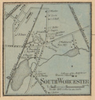 South Worcester, Massachusetts 1857 Old Town Map Custom Print - Worcester Co.