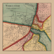 Worcester Village, Massachusetts 1857 Old Town Map Custom Print - Worcester Co.