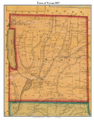 Tyrone, New York 1857 Old Town Map Custom Print - Schuyler Co.