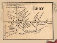 Leon Village, New York 1856 Old Town Map Custom Print - Cattaraugus Co.