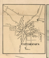 Cattaraugus Village, New York 1856 Old Town Map Custom Print - Cattaraugus Co.