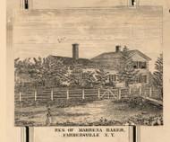 Baker Residence, Farmersville , New York 1856 Old Town Map Custom Print - Cattaraugus Co.