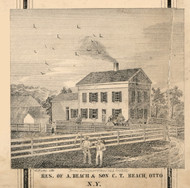 Beach Residence, Otto, New York 1856 Old Town Map Custom Print - Cattaraugus Co.