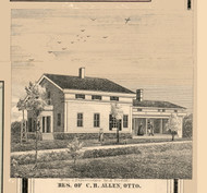 C.B. Allen Residence, Otto, New York 1856 Old Town Map Custom Print - Cattaraugus Co.