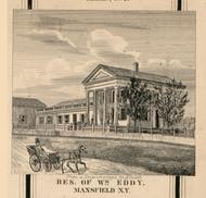 Eddy Residence, Mansfield, New York 1856 Old Town Map Custom Print - Cattaraugus Co.