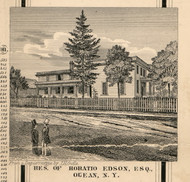 Edson Residence, Olean, New York 1856 Old Town Map Custom Print - Cattaraugus Co.