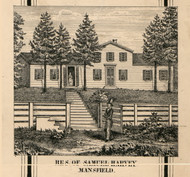 Harvey Residence, Mansfield, New York 1856 Old Town Map Custom Print - Cattaraugus Co.