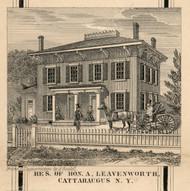 Leavenworth Residence, Cattaraugus, New York 1856 Old Town Map Custom Print - Cattaraugus Co.