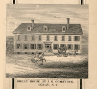 Comstock Residence, Olean, New York 1856 Old Town Map Custom Print - Cattaraugus Co.