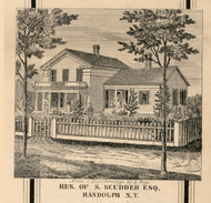 Scudder Residence, Randolph, New York 1856 Old Town Map Custom Print - Cattaraugus Co.
