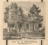 Woodworth Residence, Randolph, New York 1856 Old Town Map Custom Print - Cattaraugus Co.